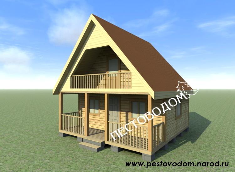 Проект бани 14, двухэтажная баня 6х6 c мансардой из профилир.