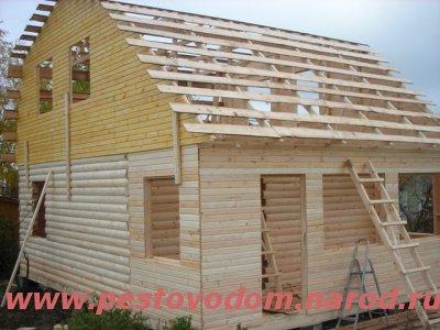 Обрешётка  деревянного дома из бруса