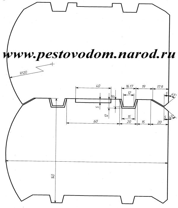 Профиль бруса с двумя шипами,с внешней стороны под